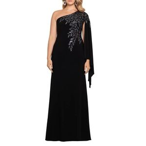XSCAPE Embellished One Shoulder Cape Sleeve Gown